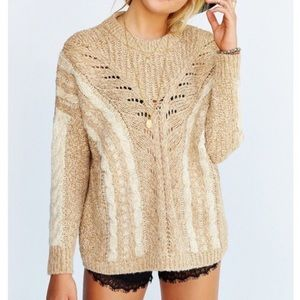 Ecote UO Madison Chunky Cable Open Knit Sweater| S